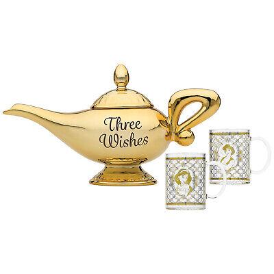 Teekanne Disney Aladdin Wunderlampe mit 2 Gläsern Tee-Kanne Genie Dschinni