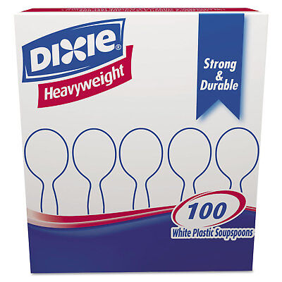 Dixie Plastic Cutlery Heavyweight Soup Spoons White 100/Box SH207 (Heavyweight Plastic Soup Spoons)