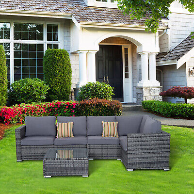 Garden Furniture - Outsunny 4PC Garden Rattan Corner Sofa Set Coffee Table Wicker Furniture Outdoor