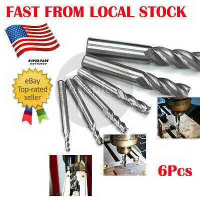6pc Hss End Mill Cutter Milling Cut Bit 18 316 14 516 58 12 In Us