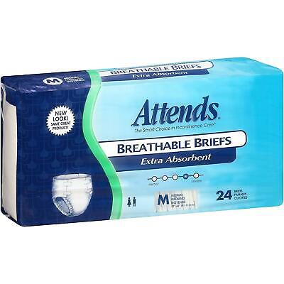Attends Breathable Briefs Extra Absorbent Adult Diaper Brief Sz MEDIUM ~ 24/pack Attends Breathable Extra Absorbent