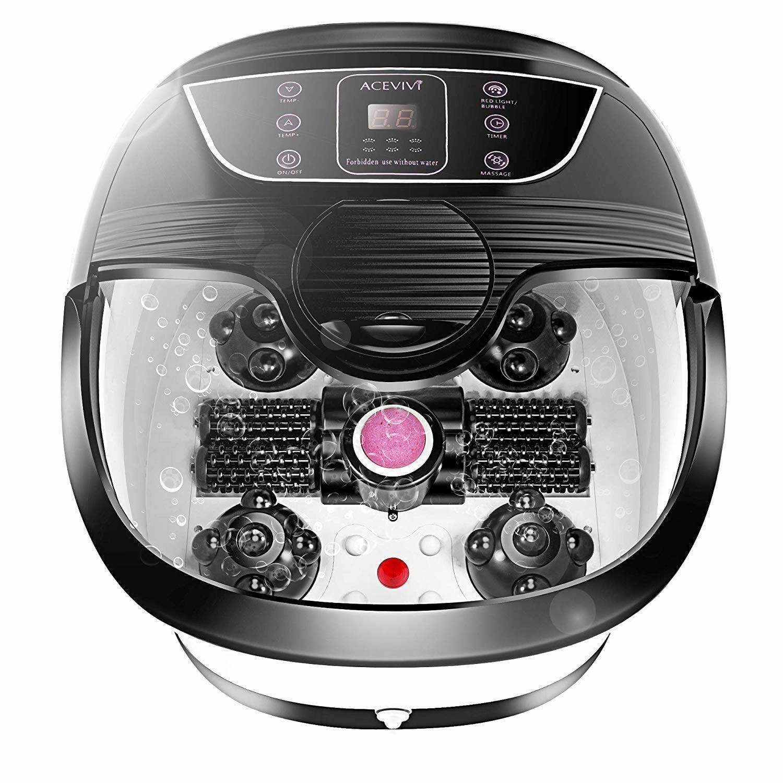 ACEVIVI Foot Spa Bath Massager Bubble Heat LED Display Infra