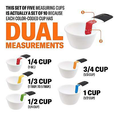 GoodCook 20315 Touch Dry Measuring Cup Set, Multi, White Dual Measure Measure Measuring Cup