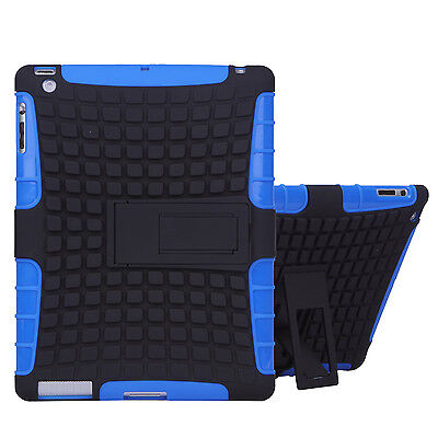 Heavy Duty Tablet Case Cover + kickstand & Screen Protector for iPad 2 3 4