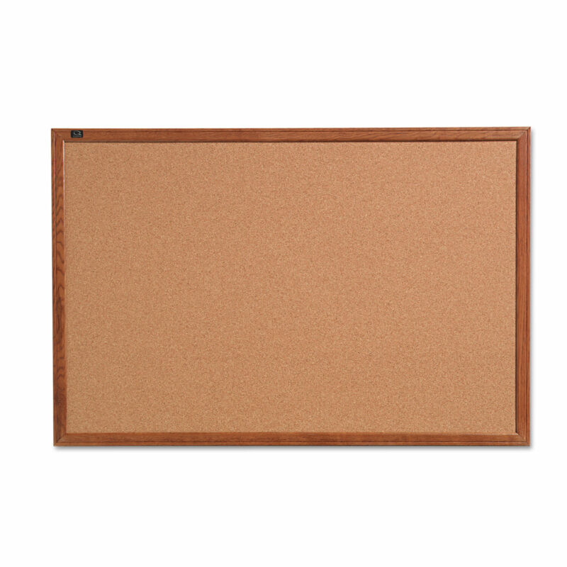 Quartet Cork Bulletin Board 24 x 18 Oak Finish Frame 85212