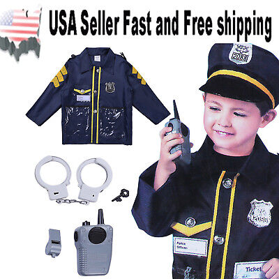 6 Pcs Police Costume for kids with Toy Role Play Kit Dress Up Outfit ~ US Seller](Police Dress Up)