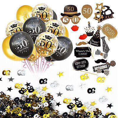 50. Geburtstag Party Deko Set - Ballons + Fotorequisiten + Konfetti Gold Schwarz