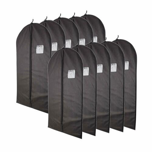 "40"" Black Garment Bags set of 10 with Transparent Window Storage Suits Dresses"