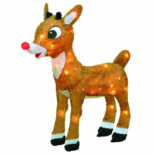 """24"""" Rudolph the Red-Nosed  3-D Tinsel Outdoor Christmas Decoration Yard Art"""