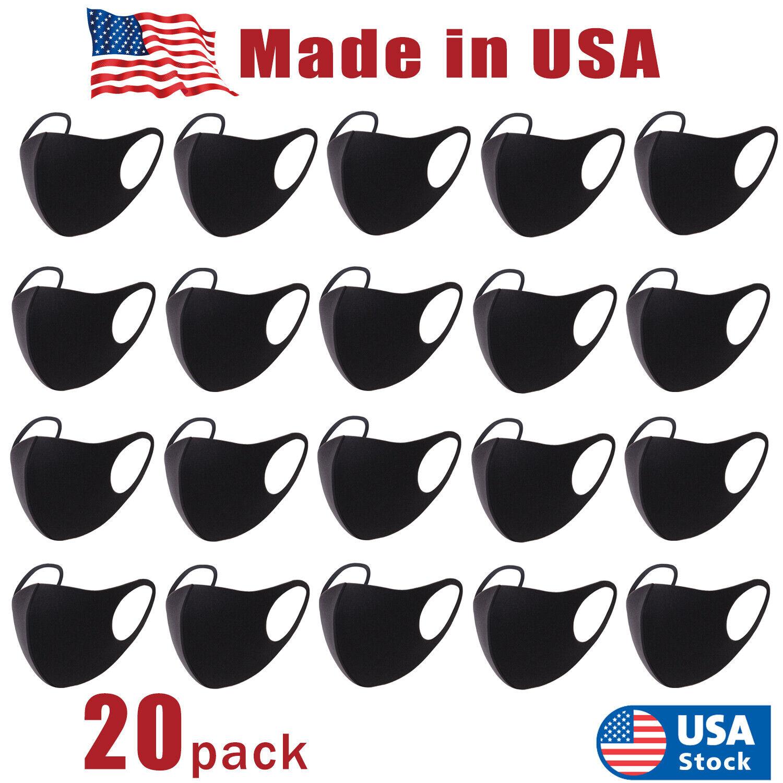 20 PCS Face Mask, Black Fashion Washable, Reusable, Breathable, Unisex Mask USA Accessories