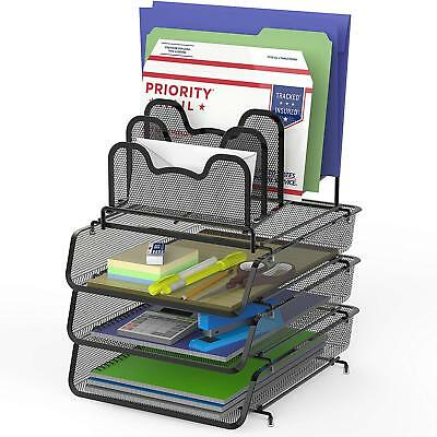 Stackable Desk File Document Letter Tray W 5 Compartments Step File Organizer