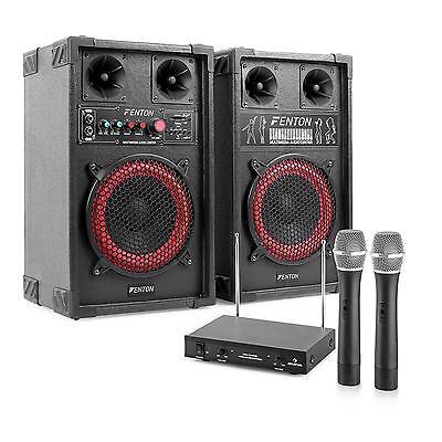 400 Watt Karaoke Anlage mit Master Slave Boxensystem & Doppel Funkmikrofon