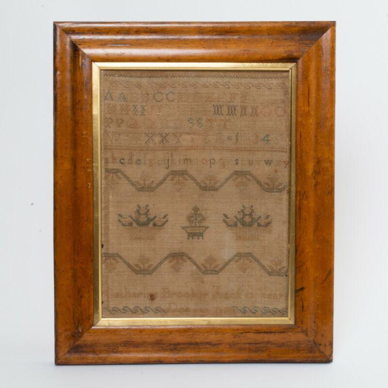 Antique Cross Stitch Embroidery Sampler Alphabet Flower Baskets Named Dated 1832