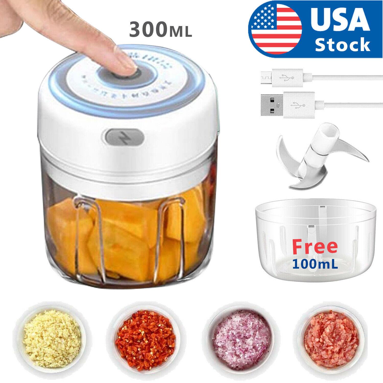Electric 300ML Garlic Press Chopper Chili Onion Fruits Meat Mincer Blender Mixer Choppers