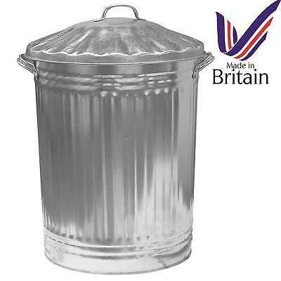 90 LITRE GALVANISED WASTE BIN GARDEN RUBBISH DUSTBIN STORAGE STRONG BIN WITH LID for sale  Shipping to Ireland