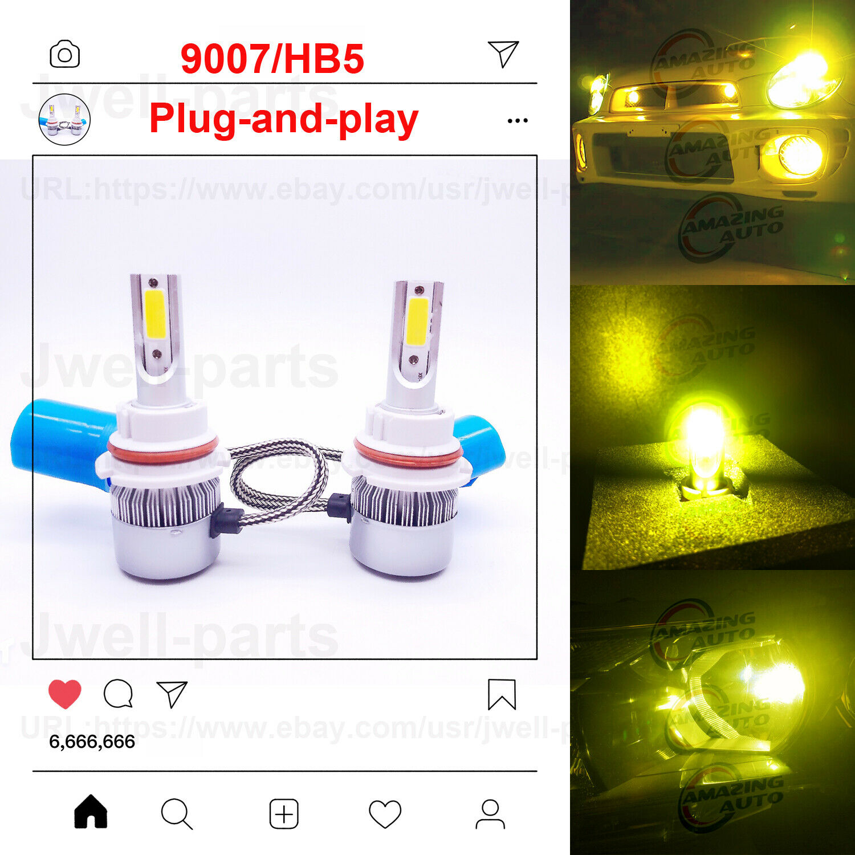 Car Parts - 2020 NEW 9007 HB5 LED Headlights Bulbs Conversion Kit 50W 4500LM 3000K Yellow