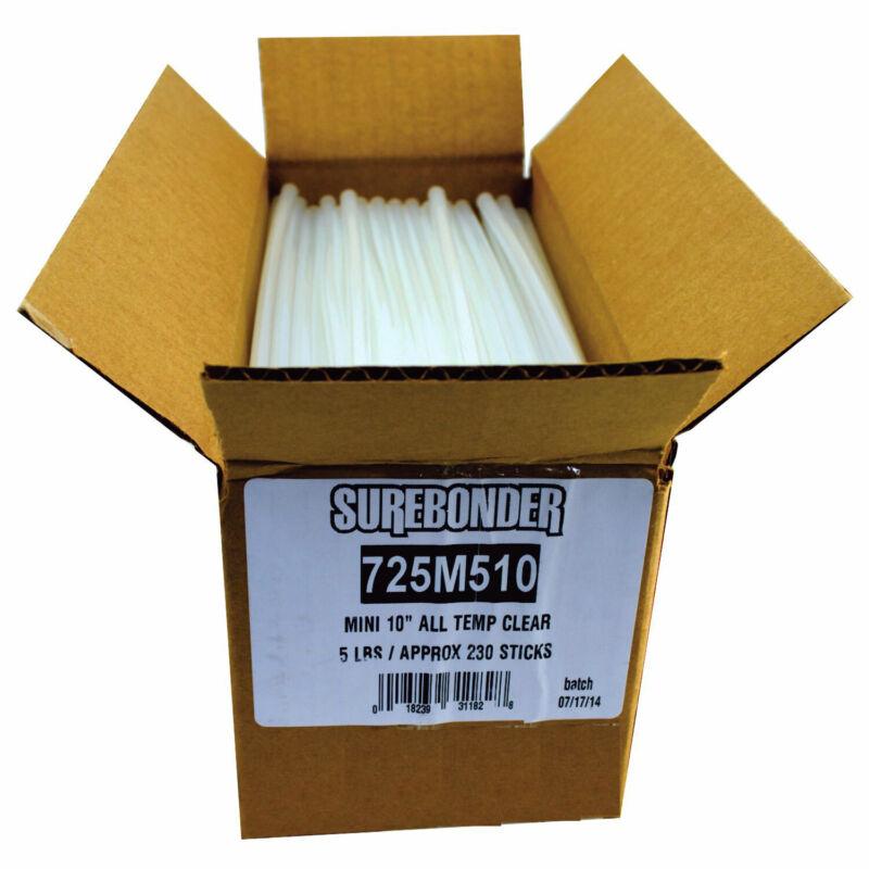 """725M510 Mini Size 10"""" Clear Hot Glue Sticks - 5 lb Box"""