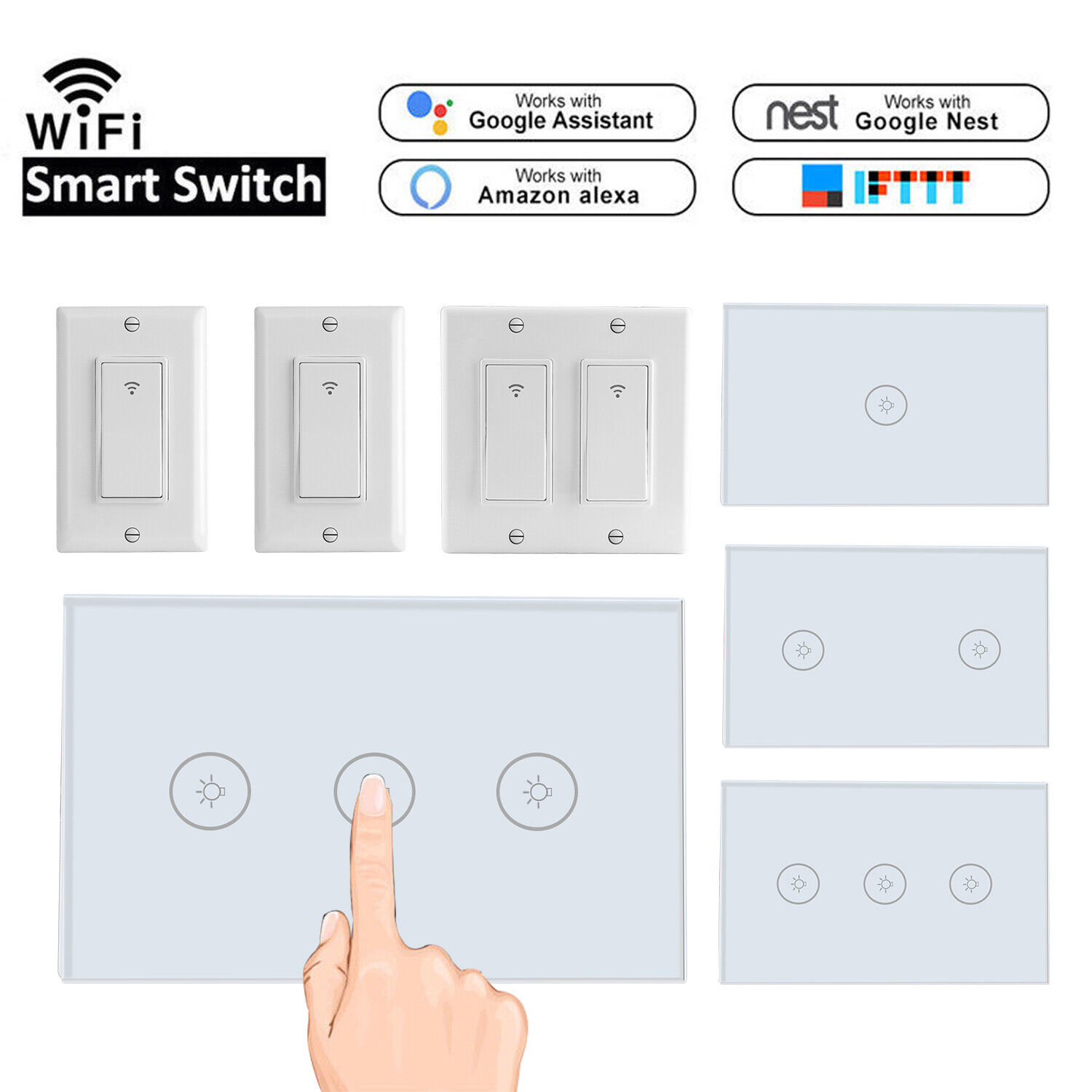 1/2/3 Gang WiFi Smart Touch Switch Light Wall Timer for Amaz