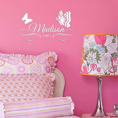 Custom Butterfly Vinyl Decal - Girls Personalized wall
