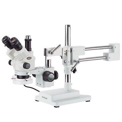 Amscope 7x-45x Simul-focal Stereo Zoom Microscope Dual Boom Fluorescent Ligh