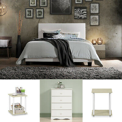 White Queen Size Bedroom Set 4 Piece Furniture Modern Dresser Bed Nightstands
