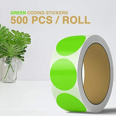 2 Inch Dot Matte Green Color Code Labels Round 500 Stickers Per Roll