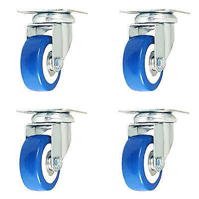 Lot Of 4 Pack 2 Caster Swivel Plate On Blue Polyurethane Wheels