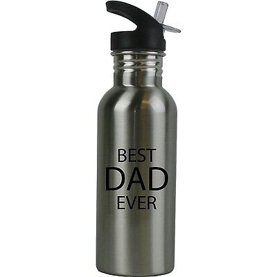 Best Dad Ever Stainless Steel Silver Water Bottle - Great Gift for Father's