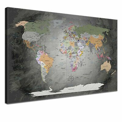 LanaKK World Map - French Graphic Art on Canvas in Grey - 70 x 100 cm