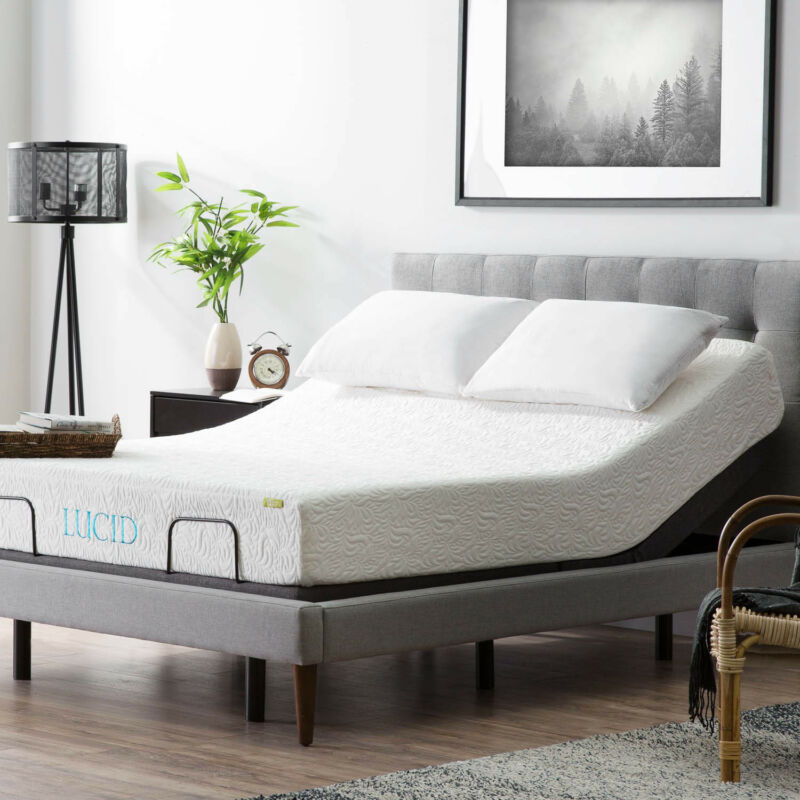 Lucid Adjustable Bed Base With Motorized Head Foot Incline And