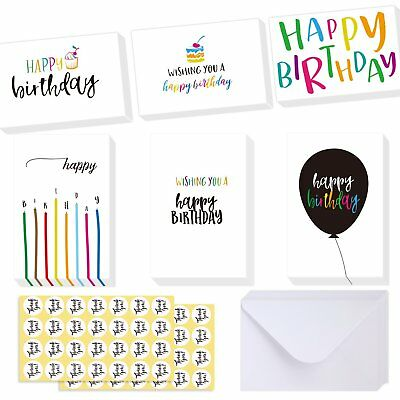 48 Assorted Happy Birthday Greeting Cards 4X6  Candle Cake Balloon Designs