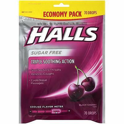 Halls Sugar Free Black Cherry Cough Drops Throat Lozenges 70 Count (1 Bag) Throat Lozenges Cherry