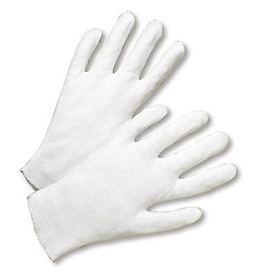 6 Pairs White Coin Jewelry Silver Inspection Cotton Lisle Gloves - Size Large