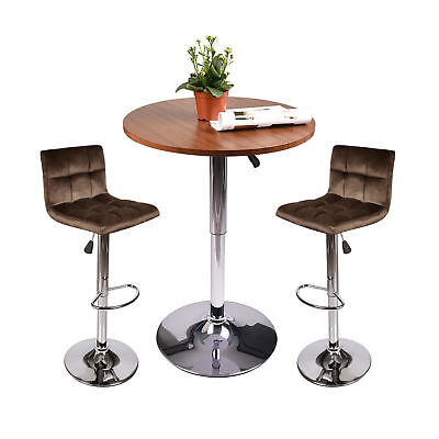 3 Piece Bar Stool Pub Table Set Wood Top Fabric Chair Counter Height Seat Dining