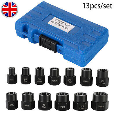 13pcs Damaged Nut Extractor Bolt Removal Tool Set 3/8'' Square Driver Socket+box