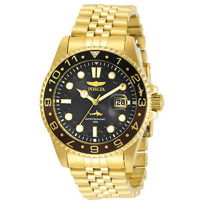 Invicta Men's Watch Pro Diver Black and Brown Bezel Yellow Gold Bracelet 30622