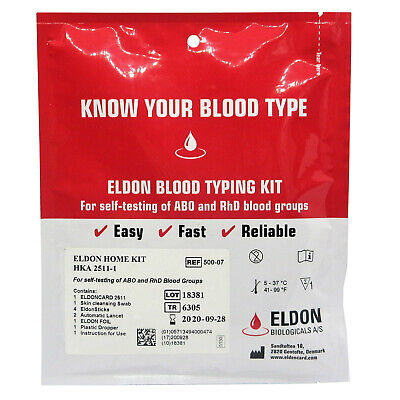 1 x Blood Type Test Kit - Group Tests  - Eldoncard Testing - A,B,O,AB & RHESUS D