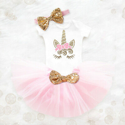 My Little Girl Baby 2nd Birthday Dress Unicorn Outfits Party Clothing Sets 24 M