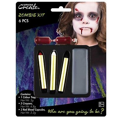 Childs Boys Girls Zombie Halloween Make Up Face Paint Fancy Dress Costume Kit