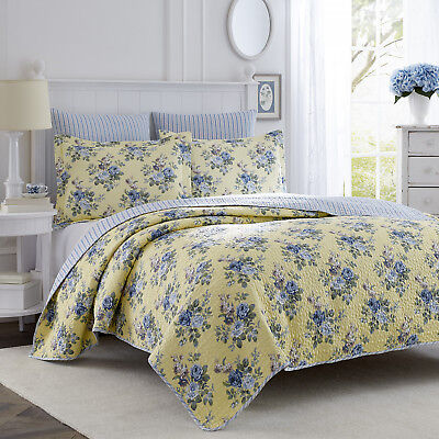 Yellow Quilt Set - Laura Ashley Linley 3-Piece Quilt Set, Cotton, Twin/Full/Queen/King