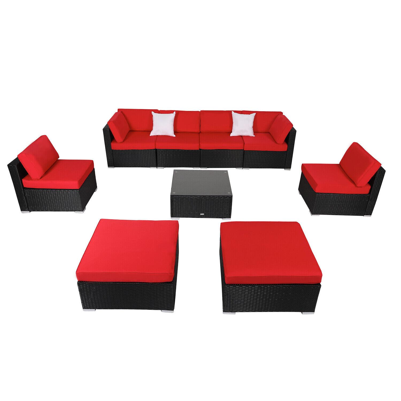 Garden Furniture - 2-9PCS Sectional Outdoor Patio Wicker Rattan Sofa Set Garden Couch Furniture