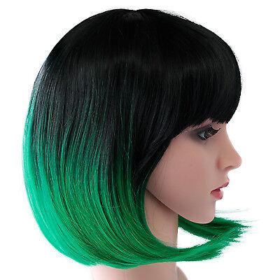 USA Stock 1Pcs Ombre Cosplay Christmas&Halloween Wig Short BOB Wig Free Wig Cap](Wigs Halloween Usa)