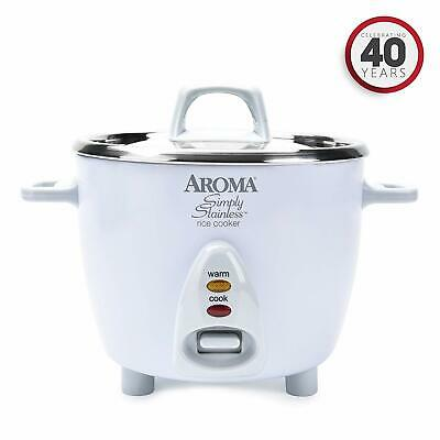 Aroma 6-Cup Rice Cooker with Stainless Steel Surface