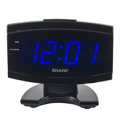 Black Large Digital Alarm Clock SHARP Blue LED Display Electric Beep Snooze NEW