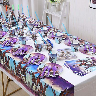 Battle Royale Birthday Party Supplies Plates, Cups, Table Cloth, Hats, Trumpets