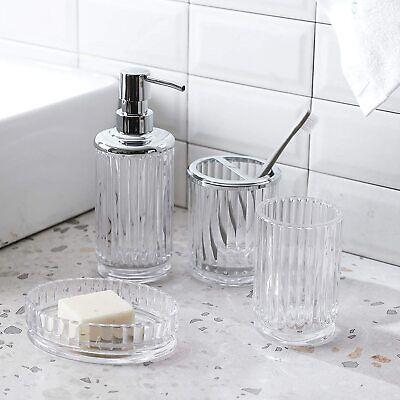 4PC Clear Glass Bathroom Accessory/Accessories Set w Dispenser&Toothbrush Holder Bathroom Accessories Toothbrush Holder