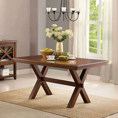 Large Indoor Modern Crossing Wood Dining Room Table Kitchen Furniture Seats 6