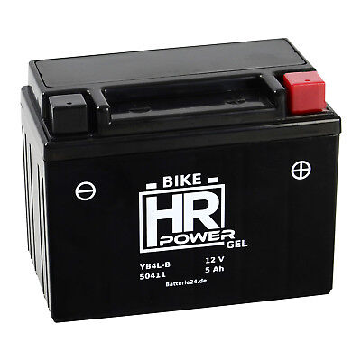 HR Bike Motorrad Roller Batterie Gel 12V 5Ah YB4L-B CB4L-B 50411 *NEU* online kaufen