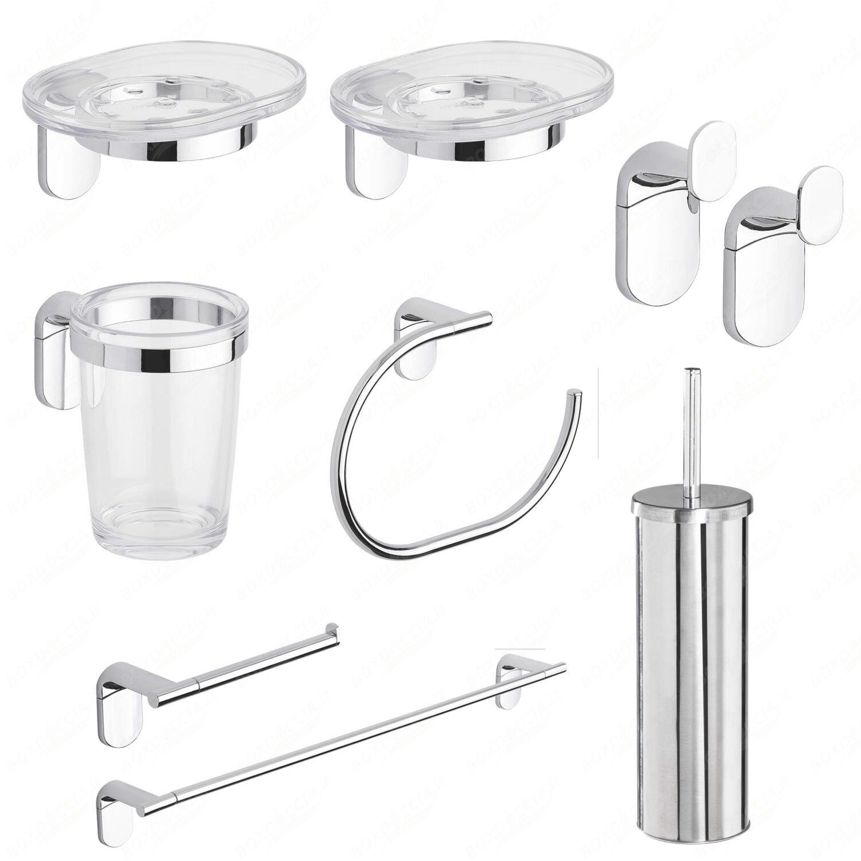 Set accessori bagno cromati cromo kit zero metaform 9 pezzi arredo design