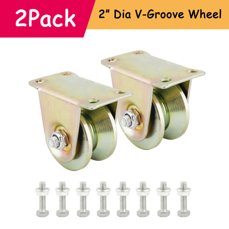 "New! Pair V Groove Wheel 2"" Double Ball Bearing Heavy Duty Sliding Gate Roller"